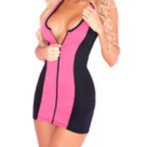 Pink Lipstick Pink & Black Scuba Dress Lingerie